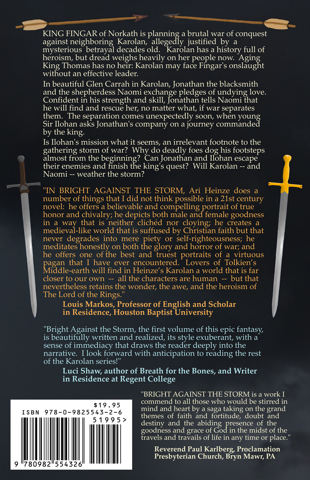 Back cover of Bright Against the Storm